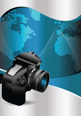 background with the camera and continents Vector