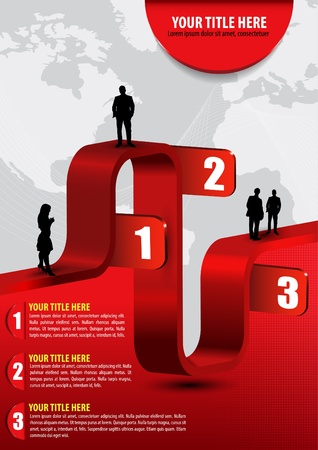 Vector abstract business background with graph, people, continents and place for text Vector