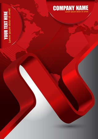 magazine template: Abstract red vector background with wave and continents