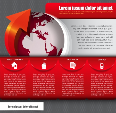 Vector abstract background with icons, globe and a description for company Vector