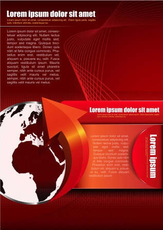 abstract red: Abstract red vector background with continents for company brochures