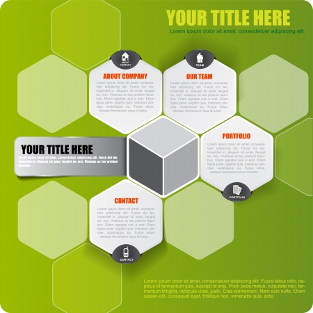web design template: Abstract vector green infographic background with icons and place for text