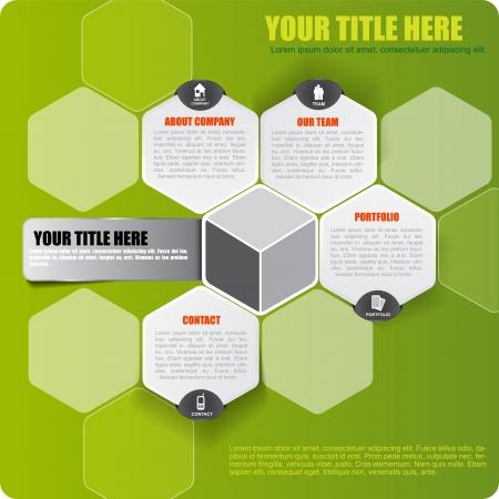 Abstract vector groene infographic achtergrond met pictogrammen en plaats voor tekst