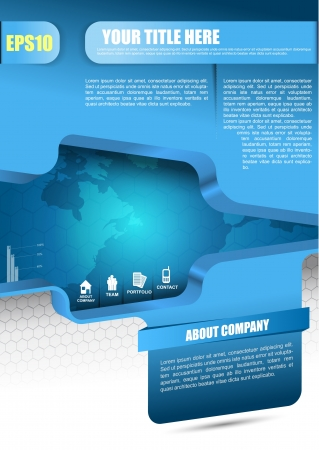 Blue vector abstract background for brochure, flyer, poster or website with information icons   Illustration