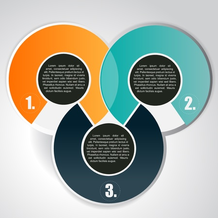 three orange: Abstract vector background with three circular tiers for text Illustration
