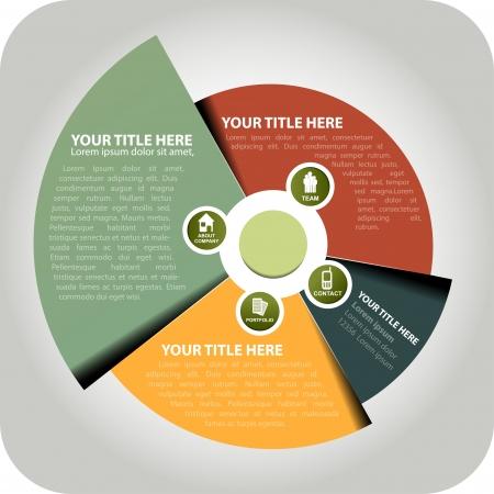 diagrama: Resumen c�rculo de fondo con iconos de informaci�n de la empresa