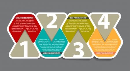 procedure: Astratto colore quattro passaggi schema di sfondo con numeri e luogo per il testo