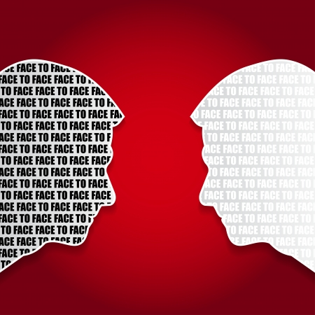 two men talking: Vector abstract background with a duel face to face Illustration