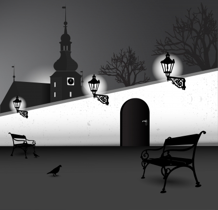 bleak: Illustrated black and white vector abstract silhouette of old street with a church, benches, trees, walls and birds