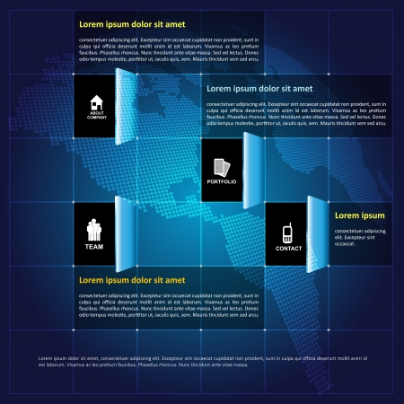 Modern vector infographic corporate background with contact icons in open squares and place for text Stock Vector - 21876773