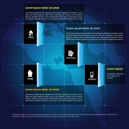 iconos contacto: Vector moderna infograf�a fondo corporativo con iconos de contacto en plazas abiertas y el lugar de texto