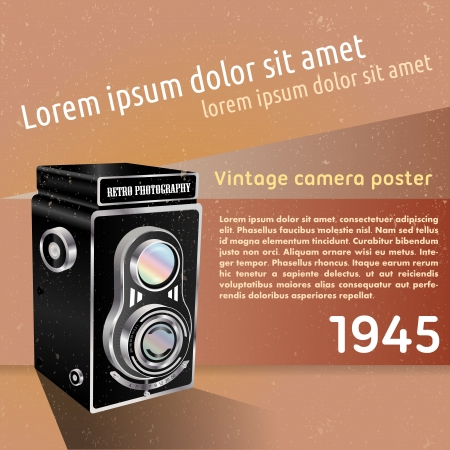 abstract aperture: Abstract retro background with the old camera and place for text