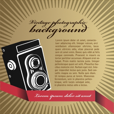 abstract aperture: Abstract vector retro background with the old camera and place for text