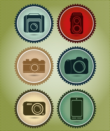 Abstract vector set of symbols with the evolution of the camera in retro vintage style Vector