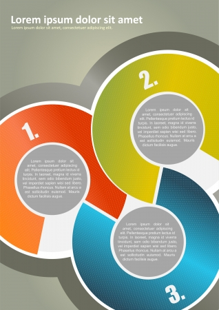segments: Vector abstract brochure background with three colored circles with numbers and place for texts