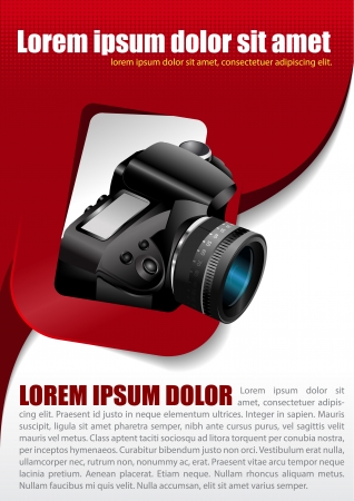telephoto: Vector photographic background with the camera in the rectangle and place for text Illustration