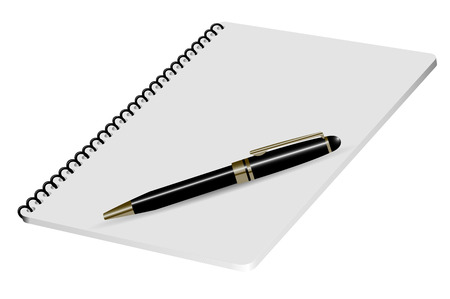 Vector realistic 3D illustration of white notepad with luxury black pen and place for text Vector