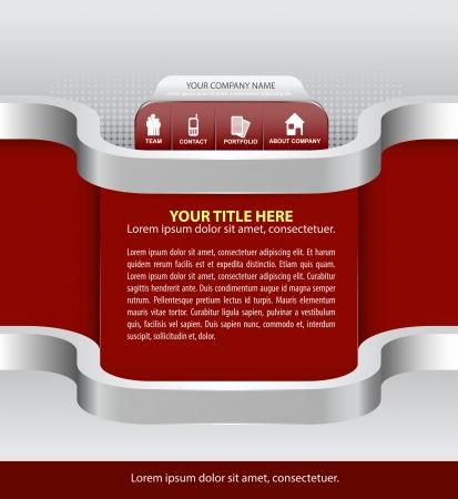 folleto: Resumen de vectores de fondo rojo de la empresa con los iconos de sitio web, folletos, volantes y publicidad