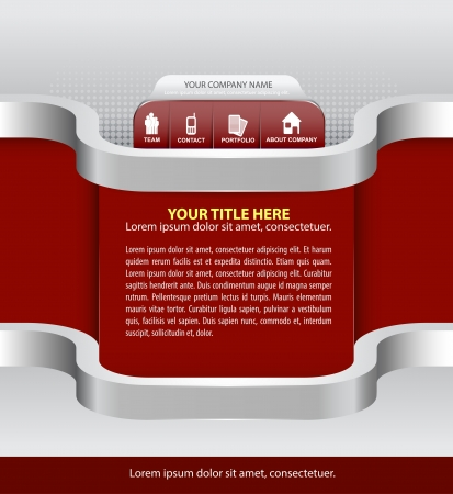 Vector abstract red background for company with icons for website, brochure, flyer and advertisement Vector