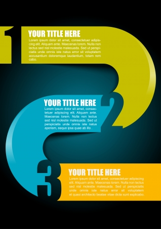 Abstract simple vector illustration with colored stripe and three options for text on dark gradient background Vector