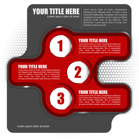 Abstract vector red background with three step and place for text Stock Vector - 22805097