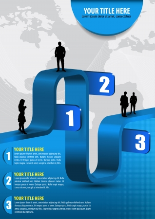 Vector abstract blue business background with graph, people, continents and place for text Vector