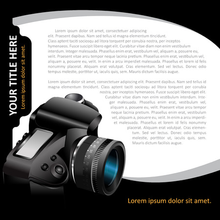 slr cameras: Black vector background with modern DSLR camera for brochure, flyer, poster and advertising