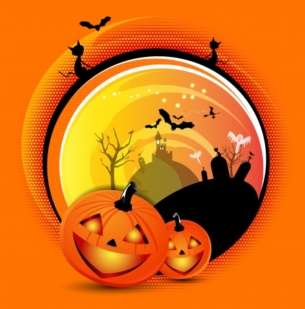 Vector orange Halloween spooky background with bats, cats, pumpkins, witch and graves for poster, flyer, invitation card or brochure Vector