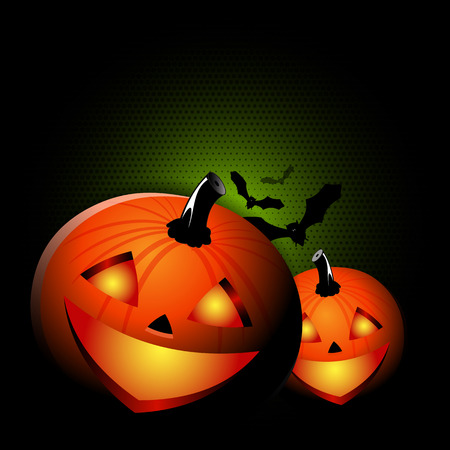 Vector black Halloween spooky background with two pumpkins for poster, flyer, invitation card or brochure Vector