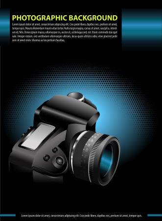 Vector photographic background with the camera in the blue glow for poster, brochure, flyer, cover or advertising  Vector
