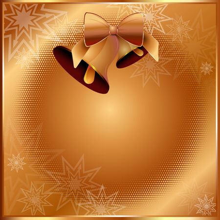 Golden Christmas vector background with two bells for invitation, greetings, cards or postcard Vector