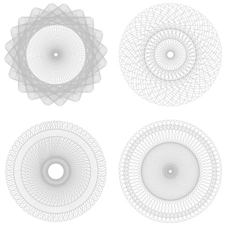 Vector set Spirographs background for certificates, coupons, vouchers, posters, tickets or cards Vector