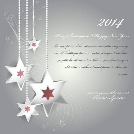 Pure silver vector Christmas background with stars for an invitation, card, greetings or postcards. Vector