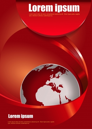 Vector red abstract brochure background with 3D with a stripe around the globe Vector