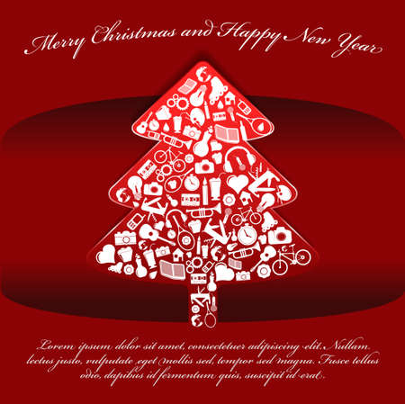 Abstract red vector Christmas background with tree made   up of many things Vector