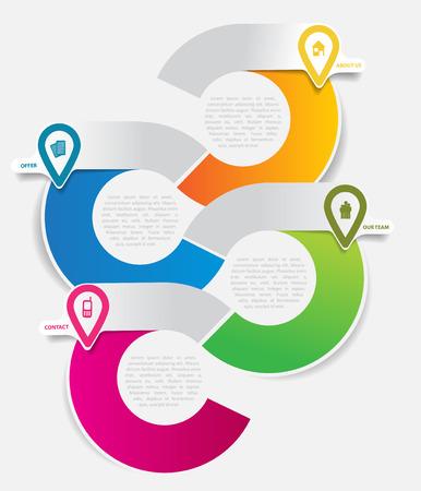 for text: Abstract vettore sfondo infografica per l'azienda con le icone e il luogo per il contenuto del testo