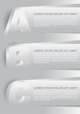 plasticity: Abstract vector background with plasticity ABC choices and place for text content. Can use for web, brochure, flyer, poster with three selections Illustration