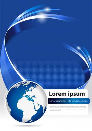 Abstract modern blue background for brochure, flyer, poster or cover with 3D stripe and globe for company Çizim
