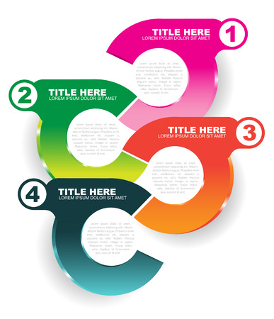 Abstract vector info colored illustration with four steps and place for text content on a white background.  Vector