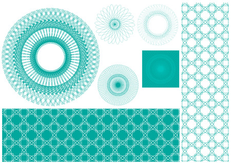 Vector set of spirographs background for certificates, coupons, vouchers, posters, tickets or cards Vector