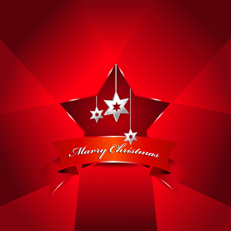 Vector red Christmas background with stars for an invitation, card, greetings or postcards. Vector