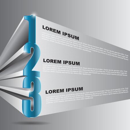 1 place: Fondo del vector 3D con 1 2 3 pasos y lugar para el contenido de texto se puede utilizar para el folleto, carteles, volantes y otros impresos Vectores