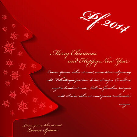 Abstract red vector Christmas background with tree and  place for content