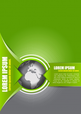 leaflets: Vector abstract green background with a globe, suitable for transport, freight forwarding, transnational, or travel company. Can be used for brochures, leaflets, posters, cards and other prints.