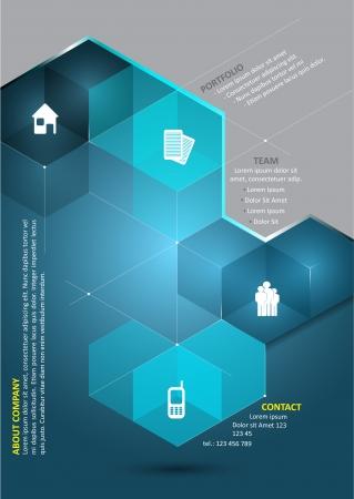 portadas: Resumen de vectores de fondo azul con los cubos en 3D y los iconos de presentaci�n corporativa y lugar para el contenido. Puede ser utilizado para folletos, afiches, folletos y otros materiales impresos. Vectores