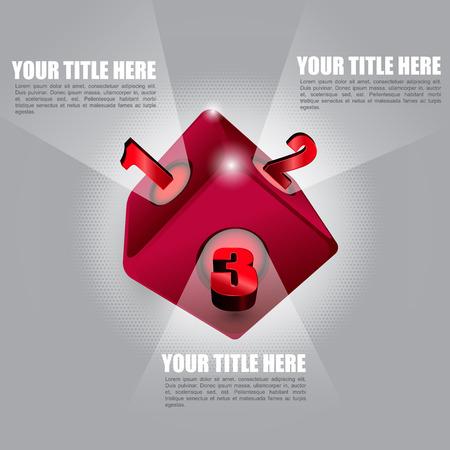 red cube: Vettore sfondo astratto con il cubo rosso e tre punti con spazio per il contenuto del testo. Vettoriali