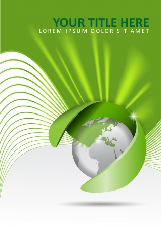 future advertising: Vector abstract green background with a globe and rays of light in the background.