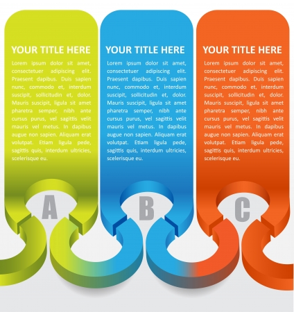 Abstract 3d labels with color ABC steps and place for text content Vector