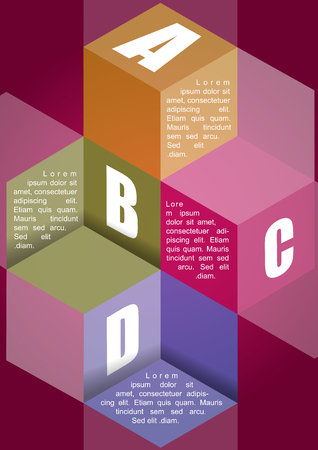 ABCD with four steps and place for content in 3d cubes