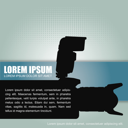 Photography vector background with a silhouette camera with flash and a place for text content.  Vector